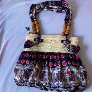 Raffia and fabric Bag